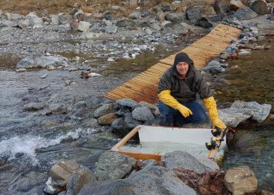 Die Fischzählanlage für Seeforellen im Gadmerwasser während der Laichzeit 2018. Mit dem Leitsystem, dem permanenten Kameramonitoring und dem Resistivity Fish Counter konnten über 90 Seeforellenbewegungen im Gadmerwasser nachgewiesen werden.